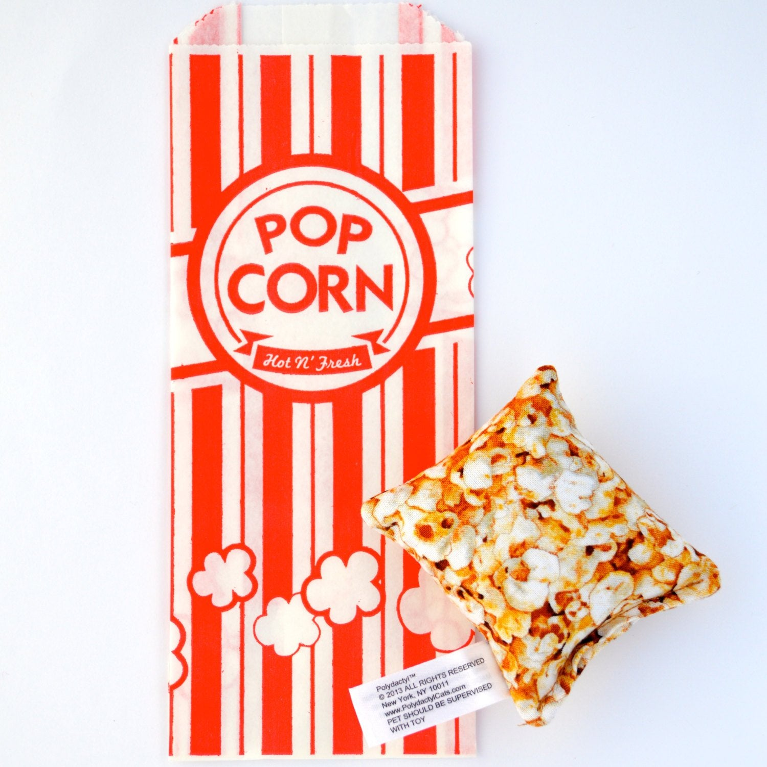Popcorn square catnip toy