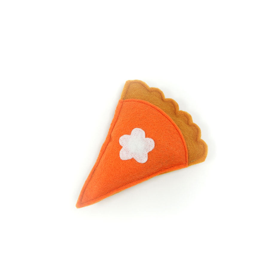 Slice of pumpkin pie catnip toy
