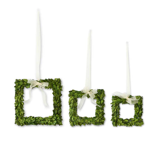 Double Sided Preserved Boxwood Square Wreath with Ribbon- 3 Sizes