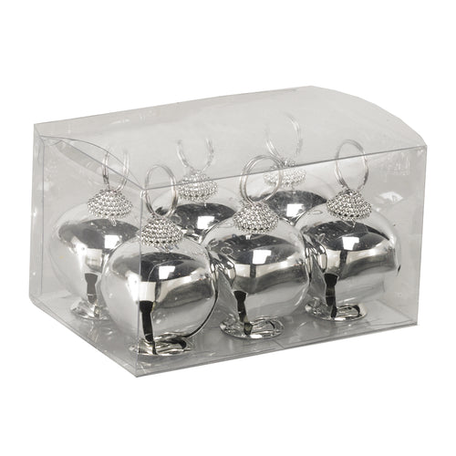 Silver Jingle Bell Place Card Holders, Set of 6