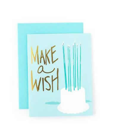 Sweet Caroline Make a Wish Blue Greeting Card