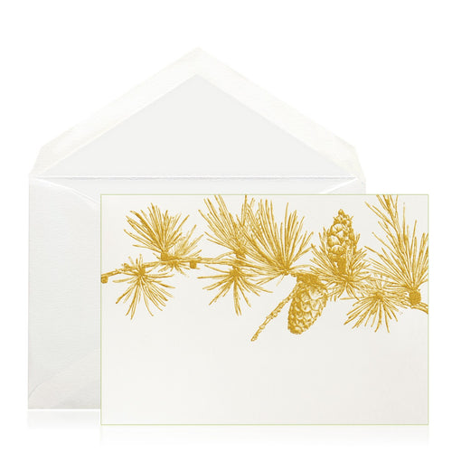 Bell'INVITO Gold Pine Branch Note Cards, Set of 6