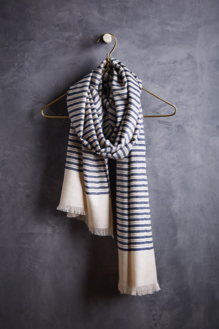 Andraab Luane Cashmere Striped Shawl- Navy
