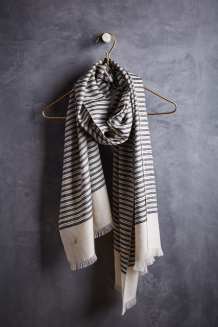 Andraab Luane Cashmere Striped Shawl- Black