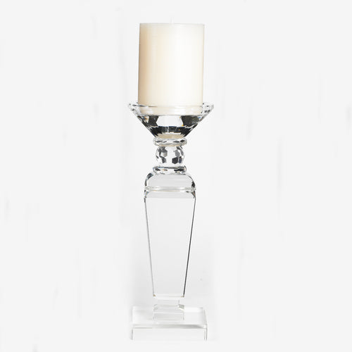 "11"" Clear Glass Crystal Candlestick with Square Base"