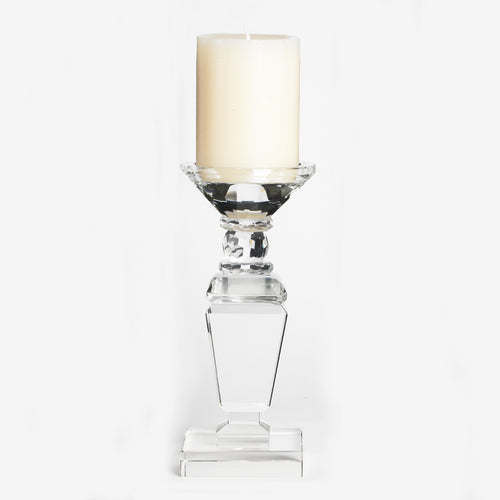 "9"" Clear Glass Crystal Candlestick with Square Base"
