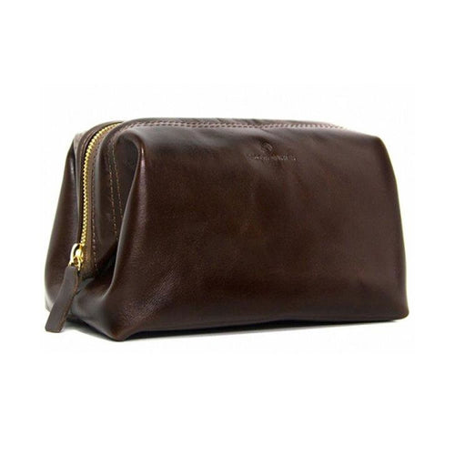 "Made in Mayhem ""Lewis"" Leather Dopp Kit- Brown"