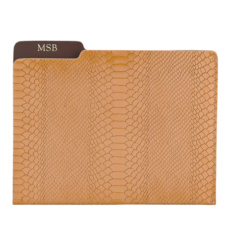 Graphic Image Carlo Embossed Python Leather Folder (Customizable)