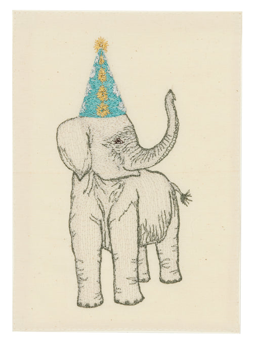 Coral and Tusk Party Elephant Embroidered Card