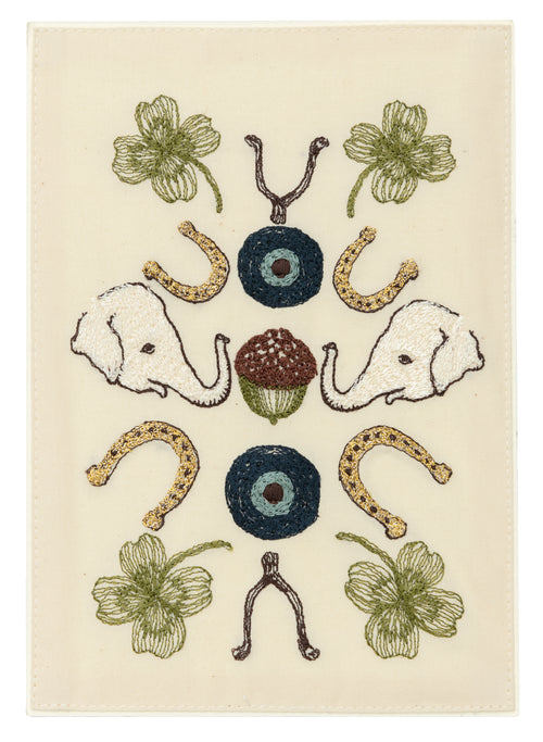 Coral and Tusk Good Luck Embroidered Card