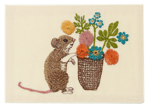 Coral and Tusk Mouse with Flowers Embroidered Card