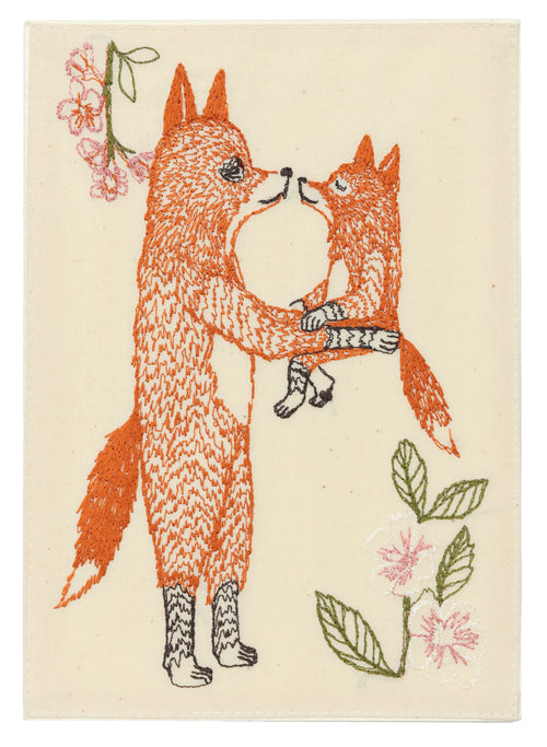 Coral and Tusk Fox Mama Embroidered Card