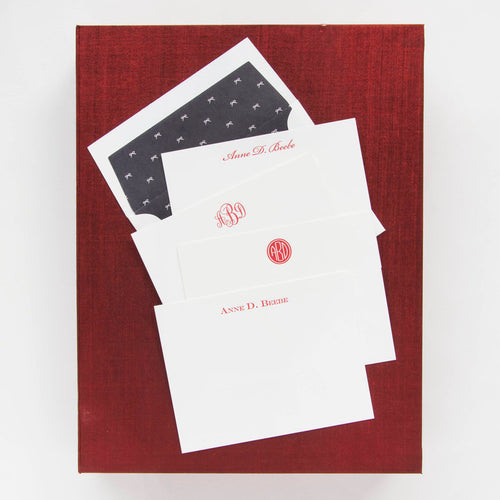 Haute Papier Grand Red Silk Stationery Gift Box- G21