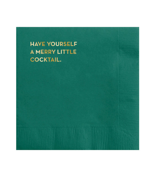 "Sapling Press ""Merry Cocktail"" Paper Cocktail Napkins- Box of 20"