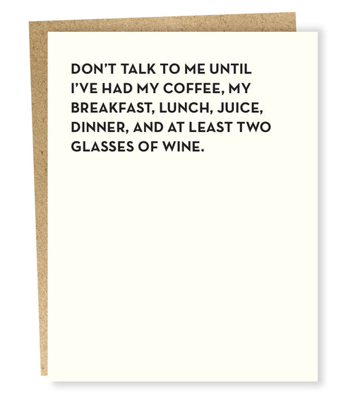 "Sapling Press ""Don't Talk To Me"" Greeting Card"