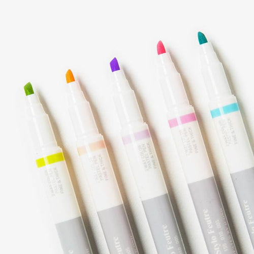 Poketo Five Pack Double Tip Pens- Pastel