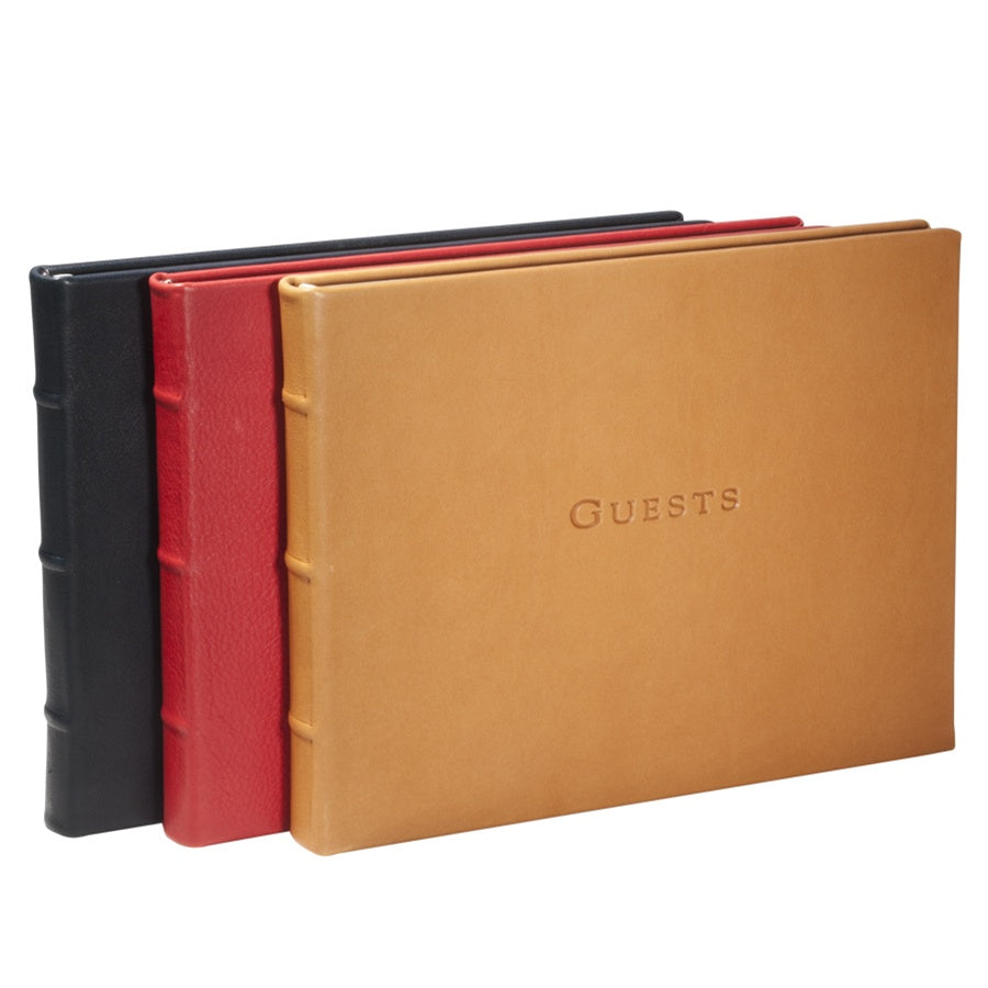 Graphic Image Traditional Leather Guest Book (Customizable)
