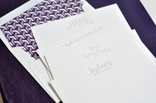 Haute Papier Grand Purple Silk Stationery Gift Box- G14