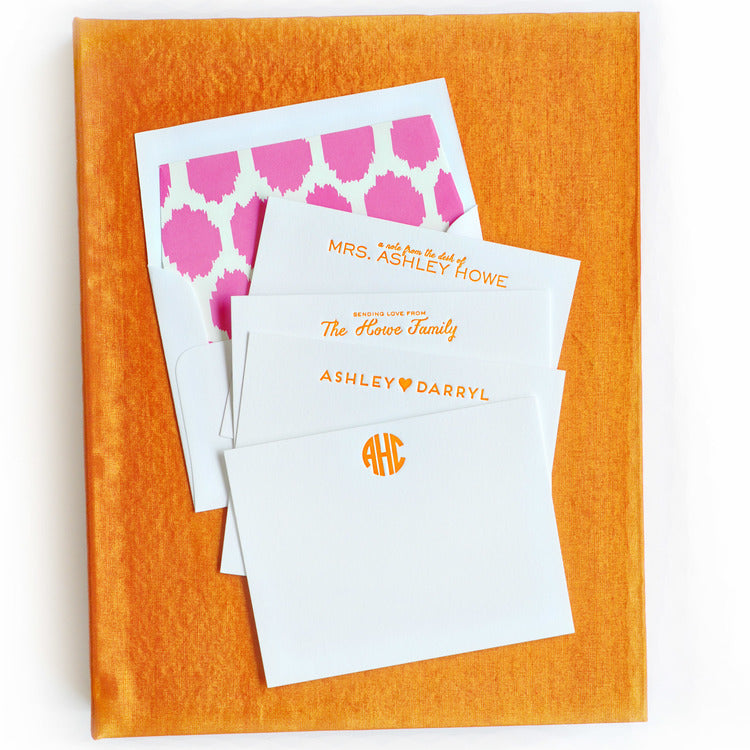 Haute Papier Grand Orange Silk Stationery Gift Box- G5