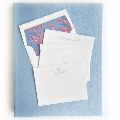 Haute Papier Grand Light Blue Silk Stationery Gift Box- G7