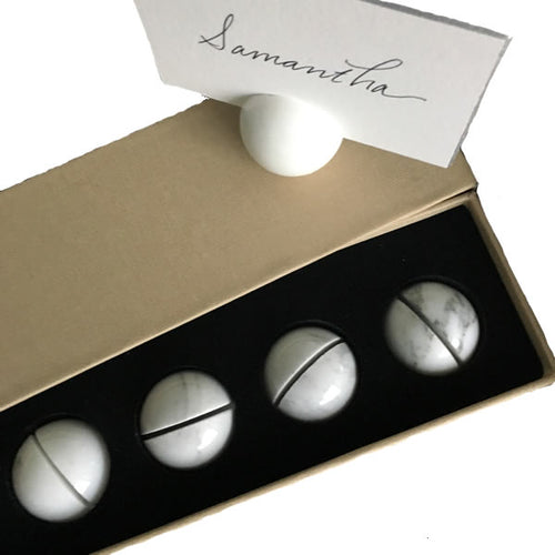 Bell'INVITO Calcutta Marble Place Card Holders, Set of 6
