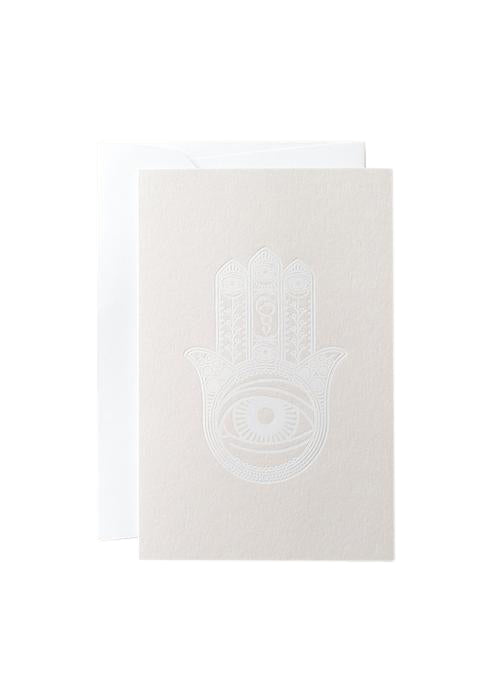 "Noat Letterpress Single Blank Card- ""White Khamsa"""