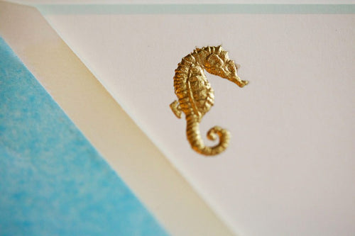 Pickett's Press Engraved Blue Seahorse Boxed Stationery