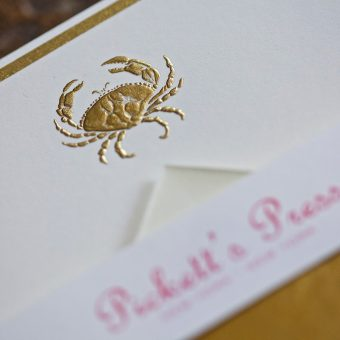 Pickett's Press Engraved Gold Crab Boxed Stationery