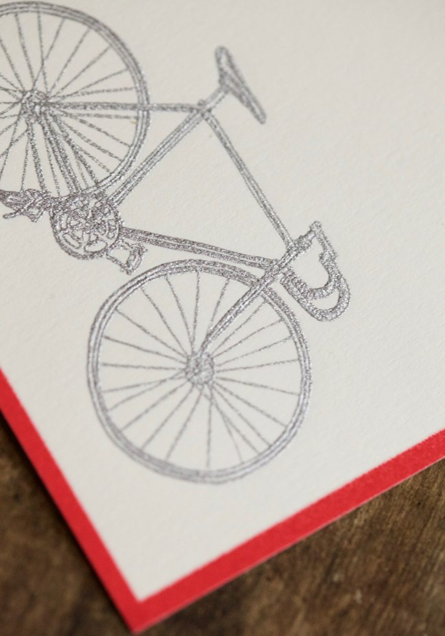 Pickett's Press Letterpress Engraved Silver Bicycle Boxed Stationery