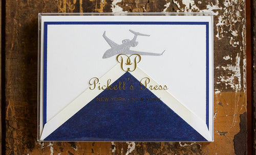 Pickett's Press Letterpress Engraved Silver Jet Plane Boxed Stationery