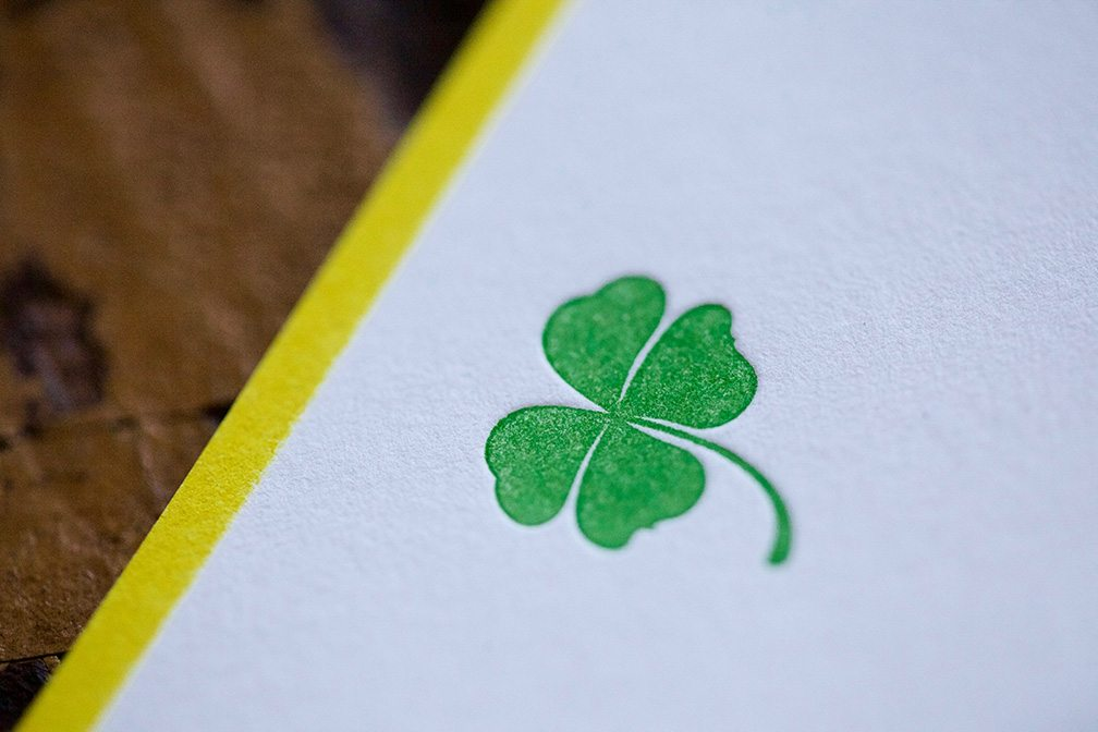 Pickett's Press 4 Leaf Clover Letterpress Note Cards- Set of 10