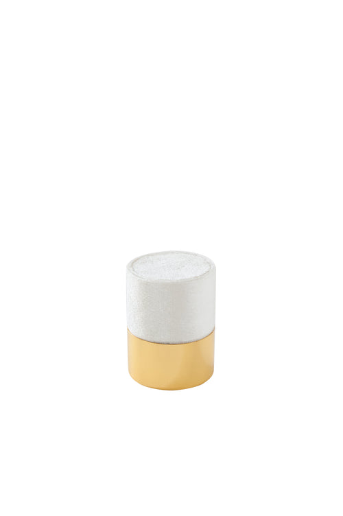 Esselle White Velvet and Gold Ring Box
