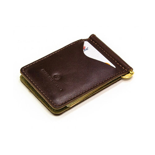 Made in Mayhem Leather Money Clip Wallet- Brown