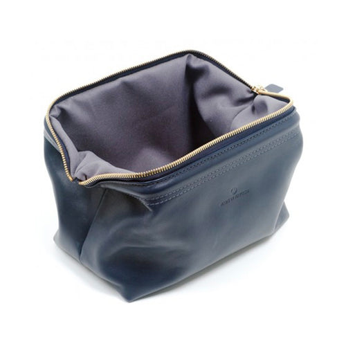 "Made in Mayhem ""Lewis"" Leather Dopp Kit- Navy"