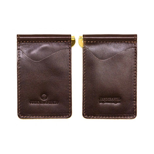 "Made in Mayhem ""Madison"" Leather Money Clip Wallet- Brown"