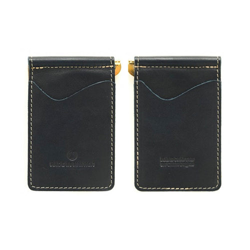 "Made in Mayhem ""Madison"" Leather Money Clip Wallet- Navy"