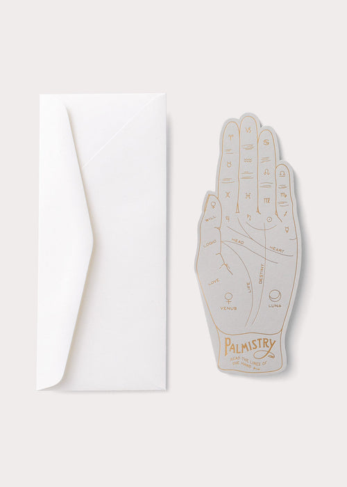 "Noat Letterpress Single Blank Card- ""Palmistry"""