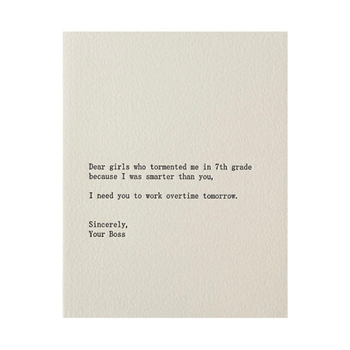 "Sapling Press ""Dear Girls Who Tormented Me"" Greeting Card"