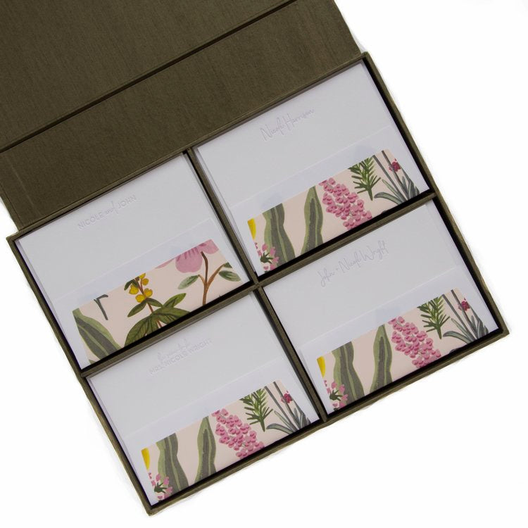 Haute Papier Grand Olive Silk Stationery Gift Box- G10