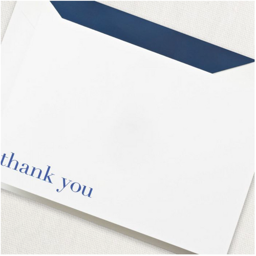 Crane and Co Bodoni Blue Thank You Note Cards, Set of 10