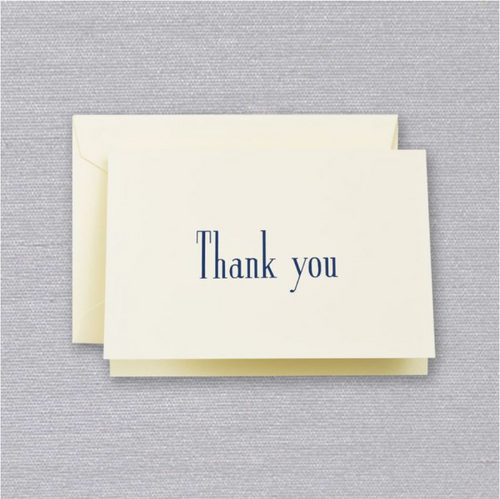 Crane and Co Navy Thank You Note Cards, Set of 10
