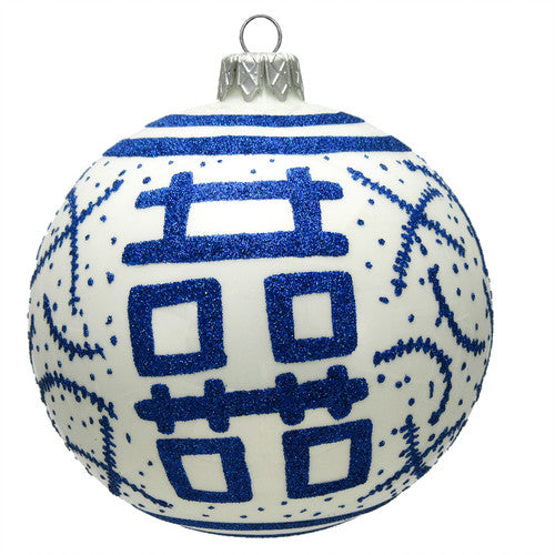Thomas Glenn Double Happiness White and Blue Ornament