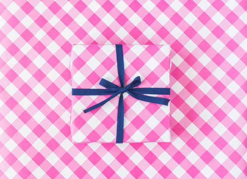 Sweet Caroline Pink Gingham Wrapping Paper