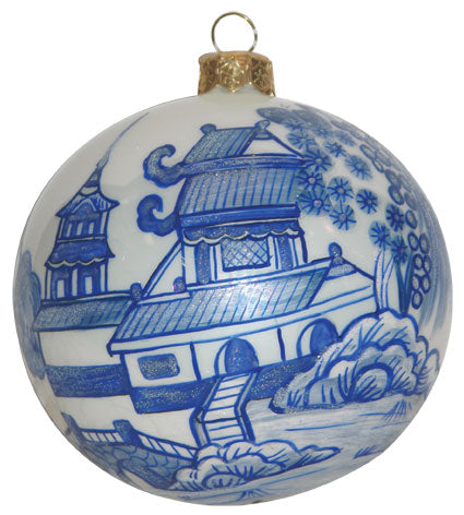 Thomas Glenn Pagoda Blue and White Ornament