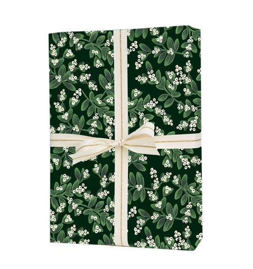 Rifle Paper Gift Wrapping Sheets, Evergreen Mistletoe- 1 Flat Sheet