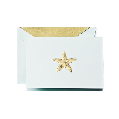 Crane and Co. Hand Engraved Gold Starfish Boxed Cards