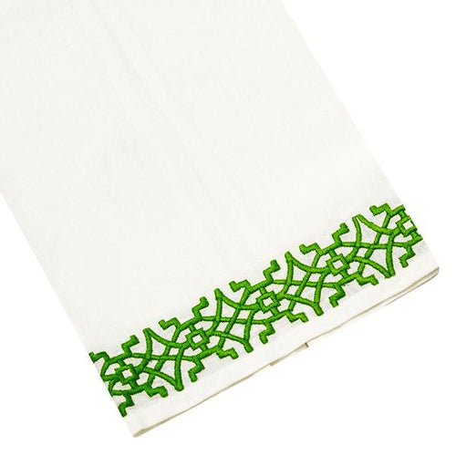 Haute Home Pagoda Tipped Linen Guest Towel- Green