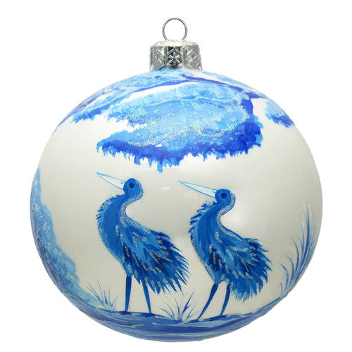 Thomas Glenn Blue and White Crane Hand-Painted Ornament