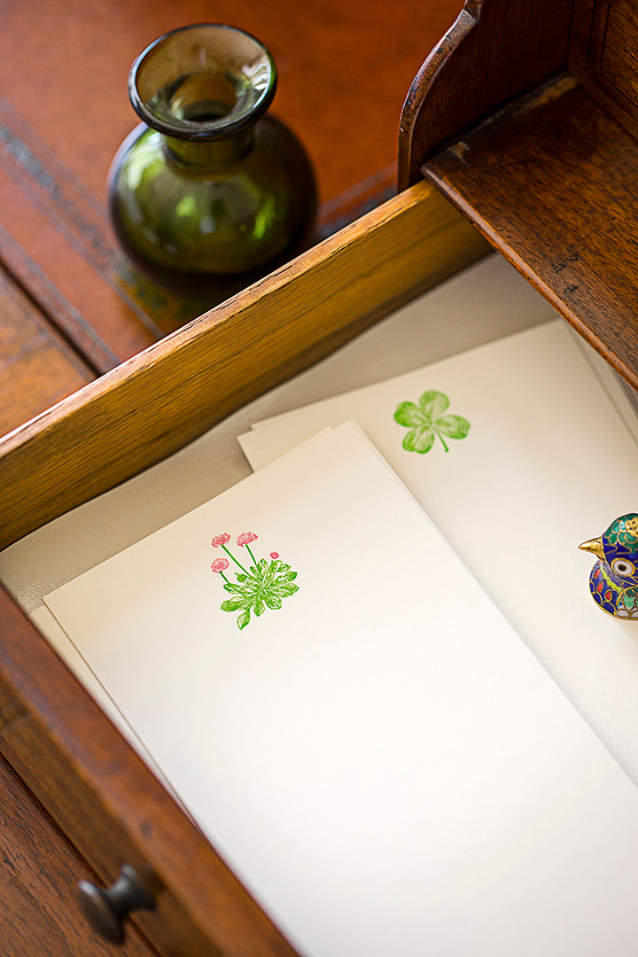 Ornament Letterpress Flowering Plant Folded Cards