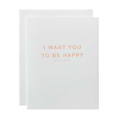 "Alee Press Letterpress ""I Want You to Be Happy"" Greeting Card"